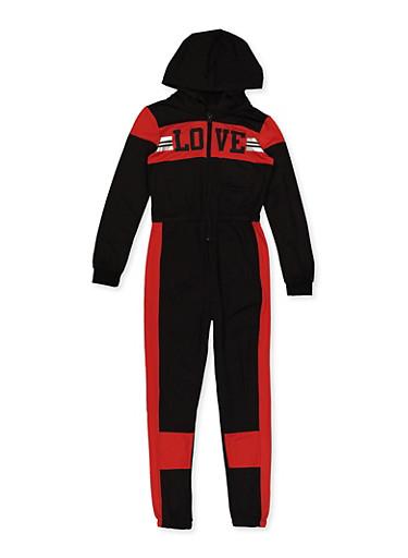 Girls 7-16 Love Color Block Jumpsuit,BLACK,large