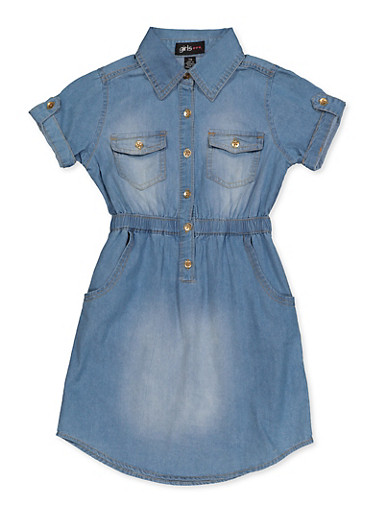Girls 7-16 Girl Queen Denim Shirt Dress,MEDIUM WASH,large