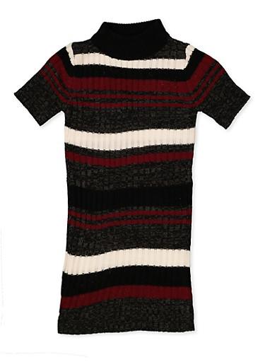 Girls 7-16 Striped Knit Sweater Dress,WINE,large