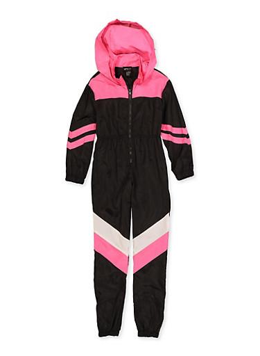 Girls 7-16 Half Zip Color Block Nylon Jumpsuit,BLACK/WHITE,large