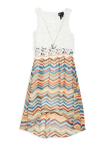 Girls 7-16 Printed High Low Dress with Necklace,OATMEAL,large