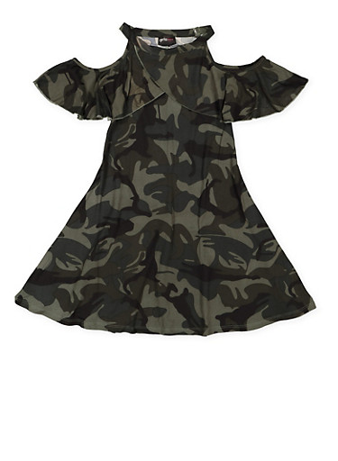 Girls 7-16 Camo Cold Shoulder Dress,CAMOUFLAGE,large