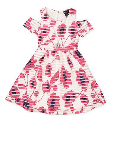 Girls 7-16 Cold Shoulder Printed Mesh Skater Dress,PINK,large