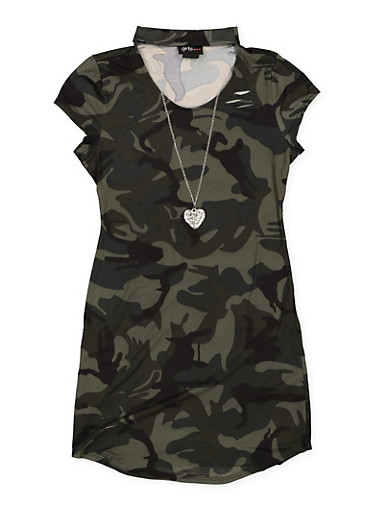 Girls 7-16 Camo Keyhole T Shirt Dress with Necklace,HUNTER,large