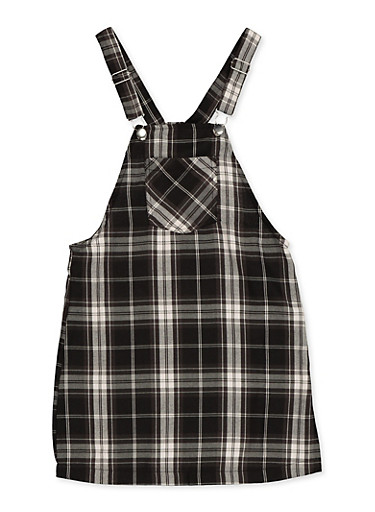 Girls 7-16 Plaid Overall Dress,BLACK,large