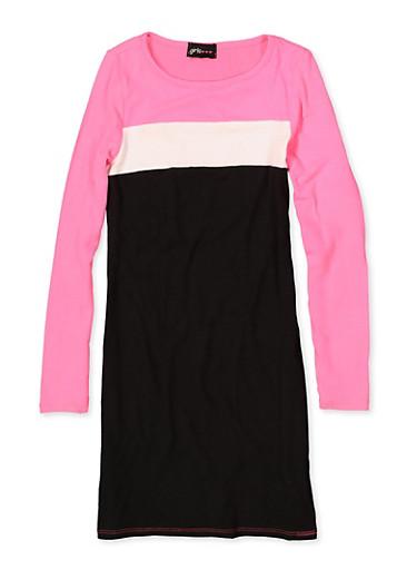 Girls 7-16 Color Block Dress,BLACK,large