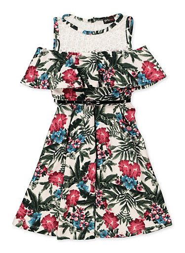 Girls 7-16 Cold Shoulder Belted Floral Skater Dress,GREEN,large