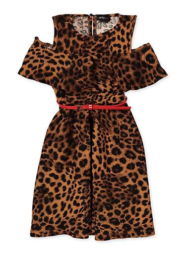 Girls 7-16 Printed Cold Shoulder Skater Dress,TAN,large