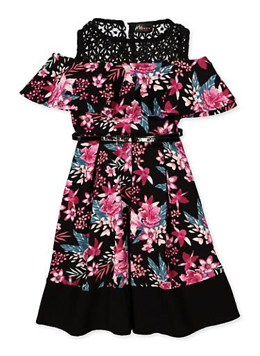 Girls 7-16 Cold Shoulder Belted Floral Dress,BLACK,large
