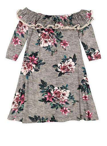 Girls 7-16 Floral Off the Shoulder Dress,HEATHER,large