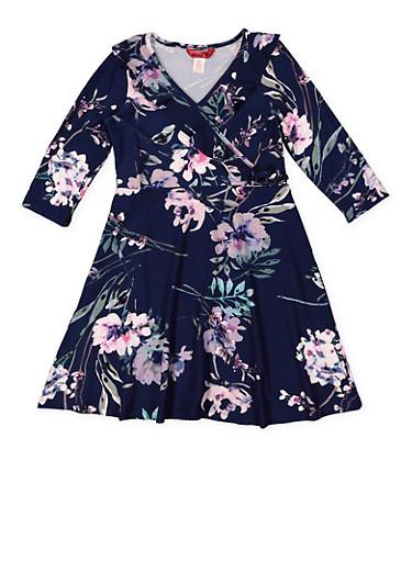 Girls 7-16 Floral Faux Wrap Dress,BLUE,large