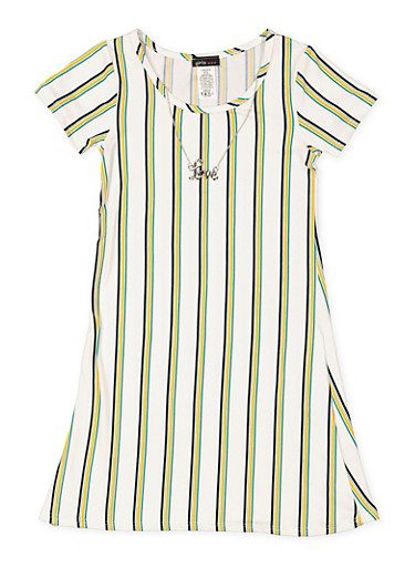 Girls 7-16 Striped T Shirt Dress with Necklace,IVORY,large