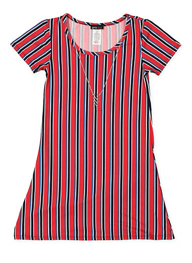 Girls 7-16 Striped T Shirt Dress with Necklace,RED,large