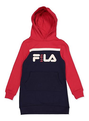 Girls 7-16 Fila Color Block Sweatshirt Dress,RED,large