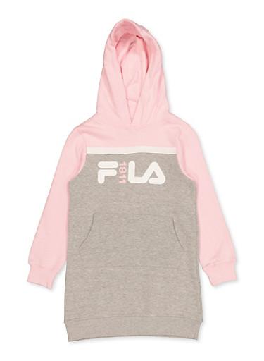 Girls 7-16 FILA 1911 Color Block Sweatshirt Dress,PINK,large