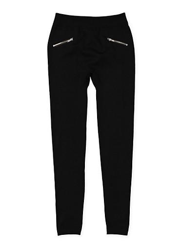 Girls 7-16 Fleece Lined Leggings,BLACK,large