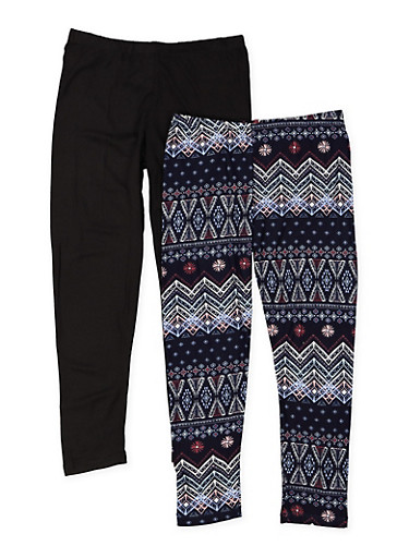 Girls 7-16 Set of 2 Solid and Printed Leggings,NAVY,large