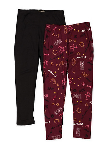 Girls 7-16 Set of 2 Printed and Solid Leggings,WINE,large