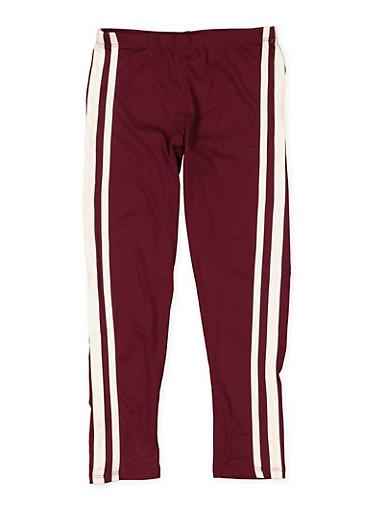 Girls 7-16 Side Stripe Soft Knit Leggings,WINE,large