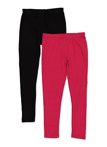 Girls 7-16 Two Pack Solid Leggings,PINK,large