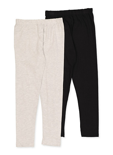 Girls 7-16 Pack of 2 Solid Leggings,HEATHER,large