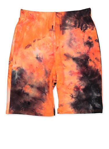 Girls 7-16 Tie Dye Bike Shorts | Neon Orange,NEON ORANGE,large