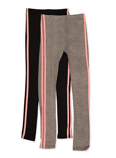 Girls 7-16 2 Pack Varsity Stripe Leggings,CORAL,large