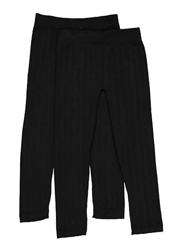 Girls 7-16 Fleece Lined Leggings Two Pack,BLACK,large