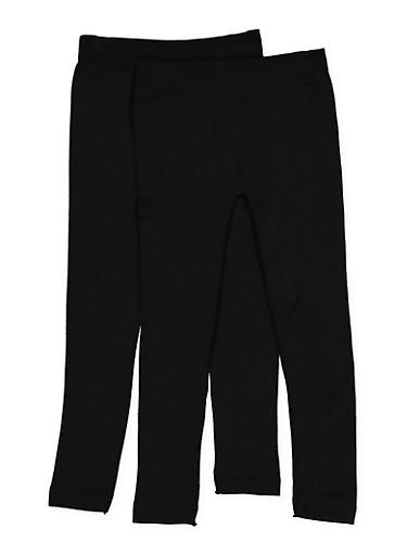 Girls 7-16 2 Pack Fleece Lined Leggings,BLACK,large