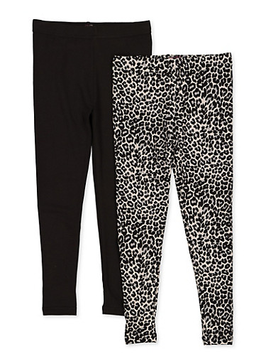 Girls 7-16 Pack of 2 Leopard and Solid Leggings,BLACK,large
