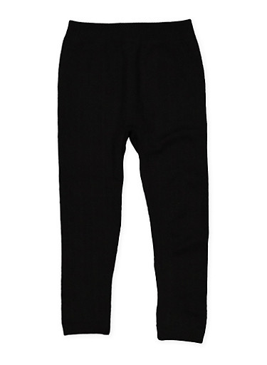 Girls 4-6x Cable Knit Leggings,BLACK,large