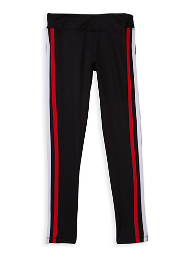 Girls 4-6x Varsity Stripe Leggings,BLACK,large