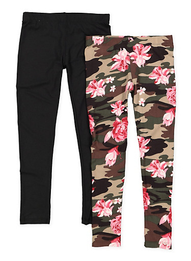 Girls 4-6x 2 Pack of Solid and Floral Camo Leggings,BLACK,large