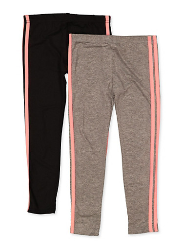 Girls 4-6x 2 Pack Varsity Stripe Leggings,CORAL,large