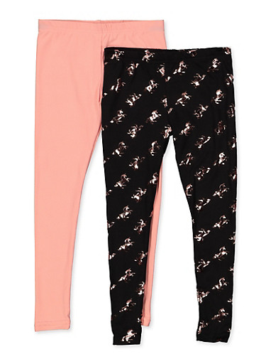 Girls 4-6x Pack of 2 Unicorn and Solid Leggings,BLUSH,large