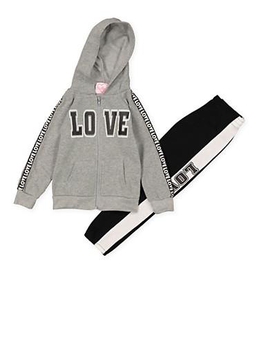 Girls 4-6x Love Hooded Sweatshirt and Sweatpants,HEATHER,large