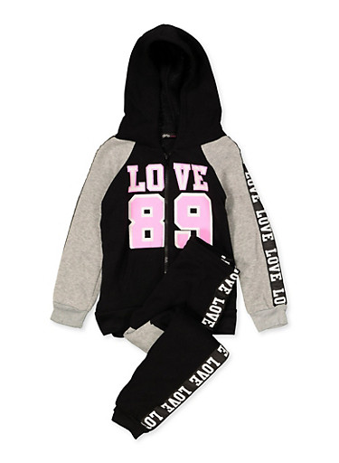 Girls 4-6x Love Tape Sweatshirt and Joggers,HEATHER,large