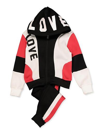 Girls 4-6x Color Block Love Sweatshirt and Sweatpants,BLACK,large