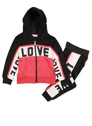Girls 4-6x Love Color Block Sweatshirt with Joggers,BLACK,large