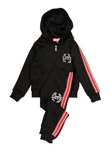 Girls 4-6x Love Queen Sweatshirt and Sweatpants Set,BLACK,large