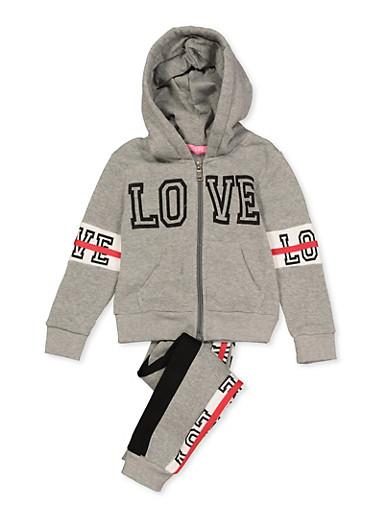 Girls 4-6x Love Contrast Trim Sweatshirt and Sweatpants,HEATHER,large