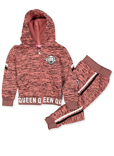 Girls 4-6x Queen Logo Marled Sweatshirt and Joggers Set,MAUVE,large