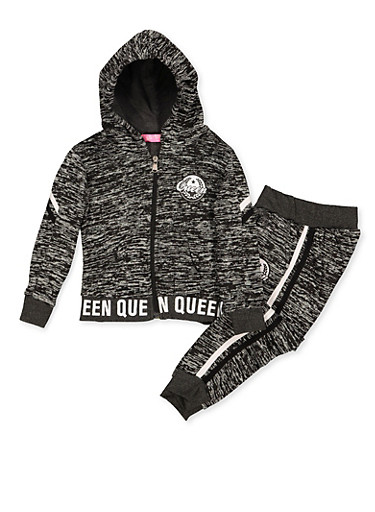 Girls 4-6x Queen Graphic Zip Sweatshirt and Joggers,CHARCOAL,large
