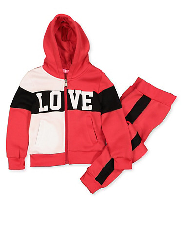 Girls 4-6x Love Color Block Sweatshirt and Joggers Set,RED,large