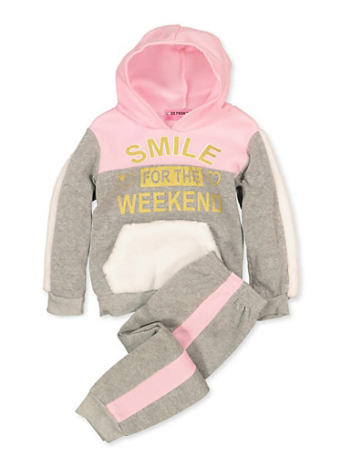 Girls 4-6x Smile for the Weekend Sweatshirt with Joggers,PINK,large