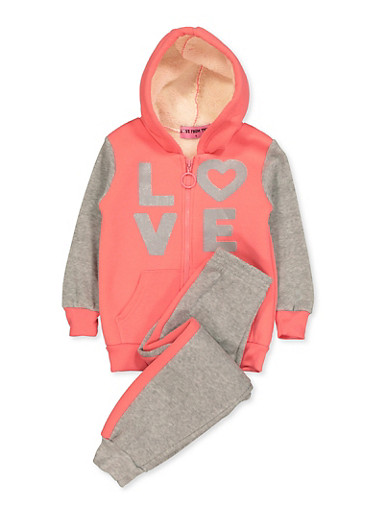 Girls 4-6x Glitter Love Sweatshirt and Joggers,RED,large