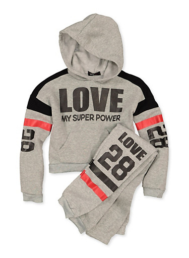 Girls 7-16 Love My Super Power Sweatshirt and Joggers,BLACK,large
