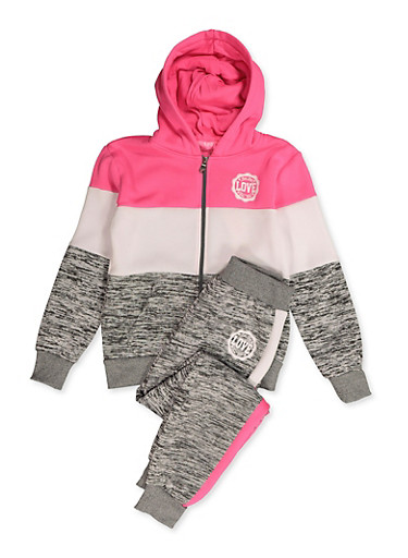 Girls 7-16 Marled Color Block Sweatshirt and Joggers,HEATHER,large