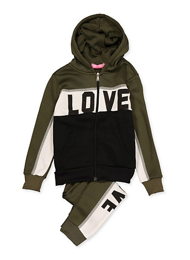 Girls 7-16 Color Block Love Sweatshirt with Joggers,OLIVE,large