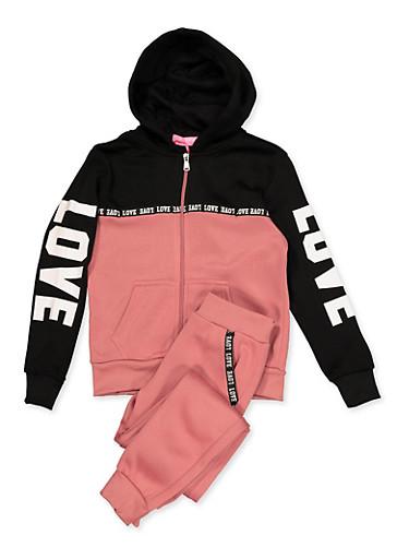 Girls 7-16 Love Graphic Trim Sweatshirt and Sweatpants,MAUVE,large